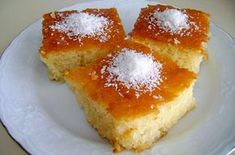 Greek semolina cake with orange syrup Turkish Recipes, Greek Recipes, Ethnic Recipes, Flour Recipes, Vegan Recipes, Cooking Recipes, Semolina Cake, Orange Syrup, Sorbet