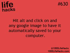 Hit alt and click on and any google image to have it automatically saved to your computer.  computer hack