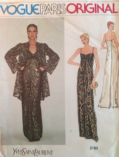 Yves Saint Laurent Vogue Paris Original Vintage Sewing Pattern # 2183 Size 10 Evening Gown Cocktail Dress w/ Jacket ©1979