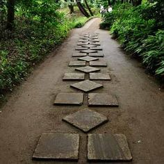 Lo cost stepping stones can be arranged in a pattern to make them look expensive