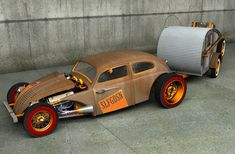 V8 rat rod VW bug and camp trailer volksrod volkswagen
