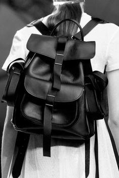Black leather rucksack, runway accessories, fashion details // Marios Schwab Spring 2014