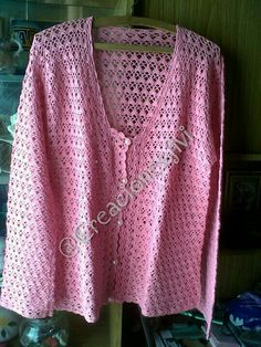 Campera rosa manga larga crochet
