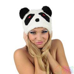 Panda Beanie - Heart Festival Essentials, Festival Gear, Rave Accessories, Rave Gear, Raves, Beanies, Gears, Panda, Winter Hats