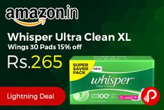 Amazon #Bestseller Product is offering 15% off on Whisper Ultra Clean XL Wings 30 Pads at Rs.265 Only. Nearly 40% longer helps provide more coverage, Wider Back for better coverage to protect against back leakage throughout the night, 5X more absorbency, Dri-Weave Cover provides soft, dry protection.  http://www.paisebachaoindia.com/whisper-ultra-clean-xl-wings-30-pads-15-off-at-rs-265-only-amazon/