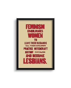 Feminist Killer Lesbians Art Print - A4