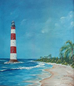 Oil painting of the Morris Island Lighthouse in South Carolina. Randall Brewer, ocean art paintings of light houses and the beach.