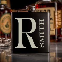 Custom Engraved Black Flask With First Name Initial and Last Name, Groomsmen Flask