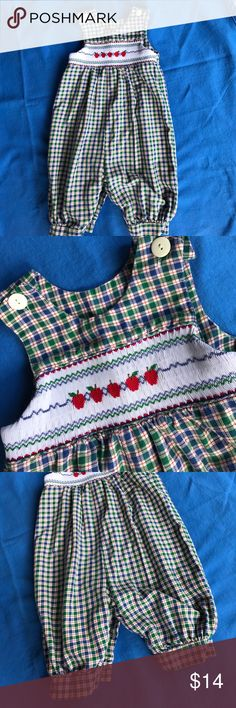 Plaid Hand Smocked Bubble, size 2 Plaid Girls Bubble with Hand Smocked Apples. Perfect for upcoming fall apple picking!  Button closure on the shoulders and diaper snaps. There isn't a tag inside, but it measures 26 inches. Comes from a smoke free home and has been gently worn. Ragsland One Pieces