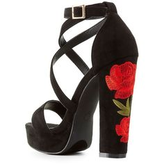 8cdec4df121 Charlotte Russe Rose Embroidered Platform Sandals ( 39) ❤ liked on Polyvore  featuring shoes