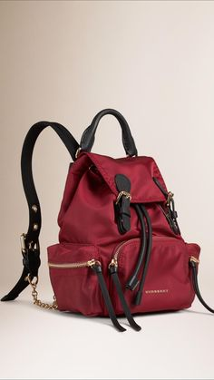 56d62c732d7f Burberry Rucksack in lightweight nylon with leather and polished metal  chain detail. Inspired by the