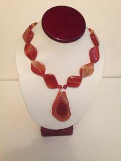 Women's Agate & Carnelian Sterling Silver Necklace on Etsy, $46.00