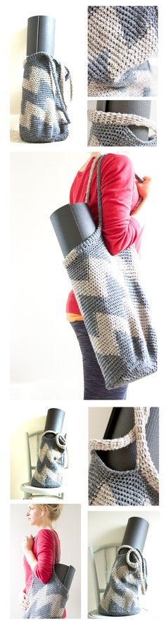 Knitting Pattern Yoga Mat Tote : 1000+ images about Crochet & Knit Bags on Pinterest ...