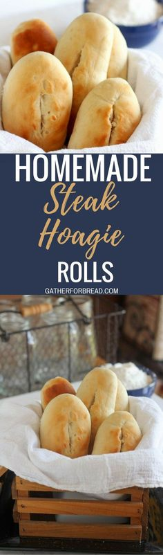 Steak Hoagie Rolls - Homemade soft, chewy roll for your Philly-style steak and hoagie sandwiches. Tender rolls that bake up beautifully. Stuff with your favorite meats or cheeses or slathered with butter.