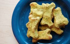 Grain-free Dog Treats - 1 cup cooked turkey breast (or other lean meat), 1 cup frozen peas (or other vegetable, such as cooked sweet potato or cooked broccoli), 2 eggs, 1/3 cup coconut flour. Combine in food processor, roll out dough and cut out shapes, bake at 375 for 20 minutes.