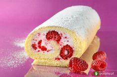"""Rolada z bitą śmietaną i malinami """"Malinowa Rozkosz"""" #raspberries #cake #cream Raspberry, Cheesecake, Peach, Sweets, Candy, Fruit, Food, Fitness, Recipes"""