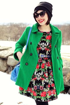 Patterned dress with bright coat