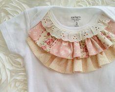 NEW Elegant shabby chic ruffled top baby girl bodysuit onsie. Great for birthday, wedding, photography