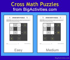 This easy level Cross Math puzzle is a fun math activity that is designed to help kids practice addition and subtraction with factors that change each time you visit. This Cross Math worksheet is printable and displays a full Cross Math puzzle. Addition Activities, Fun Math Activities, Addition Worksheets, Educational Activities, Multiplication Worksheets, Kids Math Worksheets, Multiplication And Division, Word Search Puzzles, Number Puzzles
