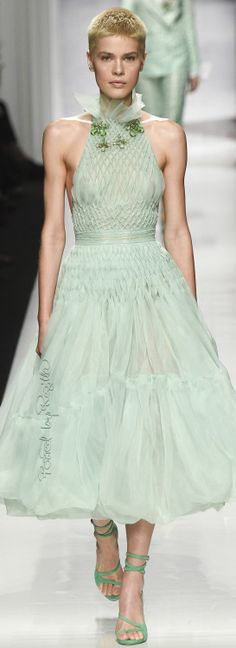 Regilla ⚜ The palest tender green gathered in sweet smocking ... perfect for a younger bride