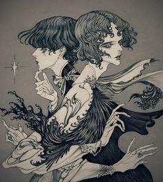 Dark, Art Nouveau inspired illustrations by Jinnn