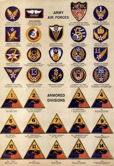 See dozens of vintage US Army & Navy shoulder insignia, plus WWII military medals & ribbons - Click Americana Army Ranks, Military Ranks, Military Units, Military Insignia, Military History, Military Aircraft, Military Medals And Ribbons, Us Military Medals, Military Uniforms