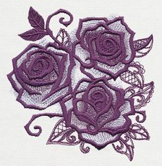 UT10163 Briar Rose - Rose Triad | Urban Threads: Unique and Awesome Embroidery Designs