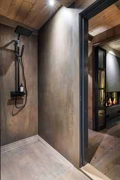 Bathroom Design Luxury, Modern Bathroom Decor, Bathroom Lighting Inspiration, Halle, Modern Lodge, Chalet Design, Home Building Design, Fireplace Design, Custom Homes