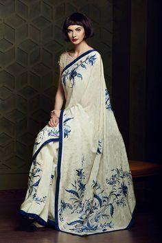 Elegant Parsi Gara embroidery Saree by Ashdeen Cotton Saree Designs, Saree Blouse Designs, India Fashion, Asian Fashion, Fashion Women, Indian Attire, Indian Wear, Indian Dresses, Indian Outfits