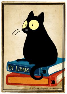 Ex Libris © Celeste GAGNON (Artist, Freelance Illustrator. Toronto, Canada) via her blog. Echo, the big-eyed black cat, sitting on books. Probably getting education by osmosis - pfb :-)  FREE DOWNLOAD, PERSONAL USE ONLY, courtesy of the artist. Her Etsy shop: http://www.etsy.com/shop/CelesteGS ... Pls keep attribution & artist site link when repinning or posting to other social media (ie blogs, twitter, tumblr etc). -pfb ... See: http://www.pinterestnews.org/2012/06/23/beginner
