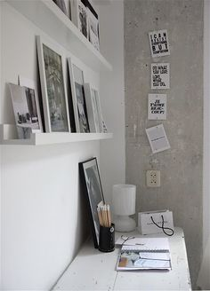 nice idea for picture frames instead of hanging them directly on the wall....frames could be swapped out and moved around so easily