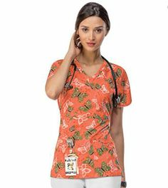 Butterflies on an orange background make for a stylish print. Runway by Cherokee Women's Mock Wrap Print Scrub Top.  #butterflies