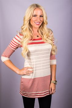 They're BACK! Button Back Striped Tunic! Only $21.99 (Orig. $44.99) For a limited time!