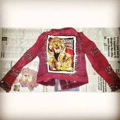 Just finished  studding this #queensofthestoneage #patch to this #red #levistrauss #jacket. Message me if you would like a custom jacket.