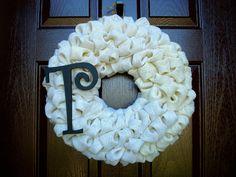 "Bubble Burlap Wreath with Monogram Initial Choose Your Color - 19"""