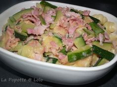 Pâtes aux courgettes à la carbonara au thermomix Barbecue, Potato Salad, Spaghetti, Lolo, Potatoes, Pasta, Ethnic Recipes, Polenta, Ravioli