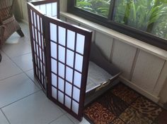 2ft tall folding screen in 3 panels. This customer uses it to hide the kitty litter box. More finishes and panels available at  UrbanAccentsNY.com
