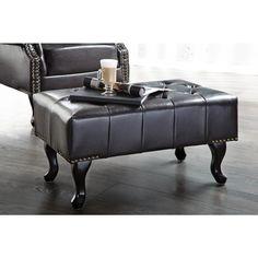 Moderne chesterfield Hocker dark coffee - 9691