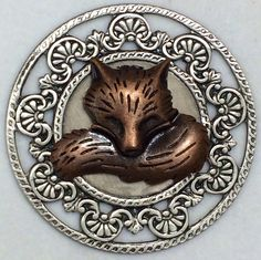 """ButtonArtMuseum.com - Brushed Sterling Silver Overlay on Stamped Brass """"Sly Copper Fox Button"""" 1 3 4"""" 