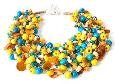 3576 delicate, light, showy necklace, colorful necklace, wooden beads, glass beads, colorful shell, yellow necklace