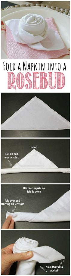 Napkin fold ideas for your wedding reception - rosebud napkin fold. How to fold a rosebud napkin.