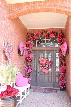 Celebrate all year with Show Me Decorating...a Valentine doorway is a great place to start. Switch out Christmas ingredients to red, pink, and white with a pop of black and white!