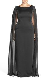 Adrianna Papell Satin Column Gown with Chiffon Cape (Plus Size)