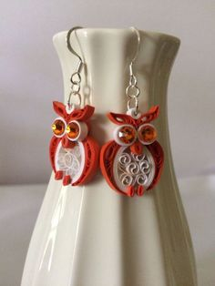 Quilled Owl Paper Earrings by Quillingbyginny on Etsy