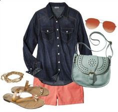 Colored Shorts Summer Outfit | Coral, Mint,  Gold!