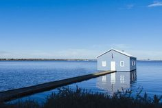 Iconic Crawley Edge Blue Boat House on Swan River - Perth, Australia