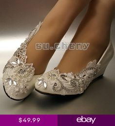 9dd97d1d7f7a su.cheny Asymmetry lace pearl rhinestones flat heel wedges Wedding Bridal  shoes