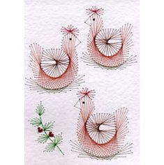 Form-A-Lines PinBroidery Three French hens String Art Templates, String Art Patterns, Embroidery Cards, Embroidery Patterns, Quilling, Christmas Squares, Christmas Patterns, Xmas Cross Stitch, Sewing Cards