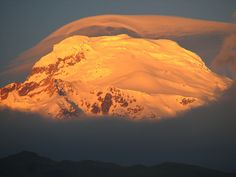 Cayambe mountain at dusk