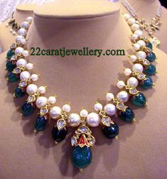South Sea Pearls and Emerald Kundan Necklaces - Jewellery Designs